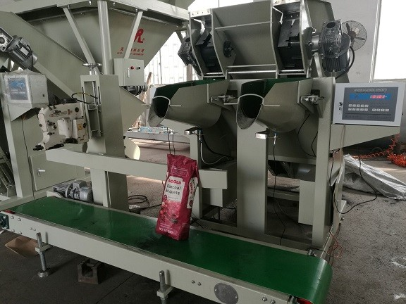 Dual spout Briquettes Weighing and Packing Machine